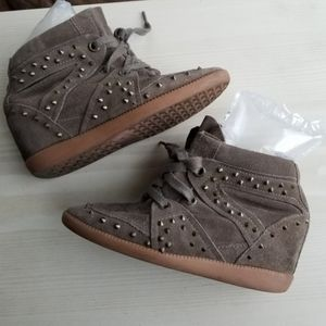 Schutz spiked suede wedge tennis shoes 7